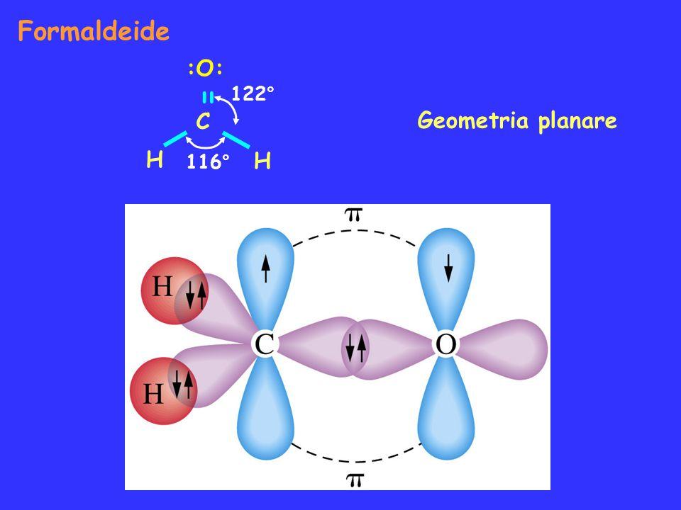 Formaldeide :O: = C H 122° Geometria planare 116°