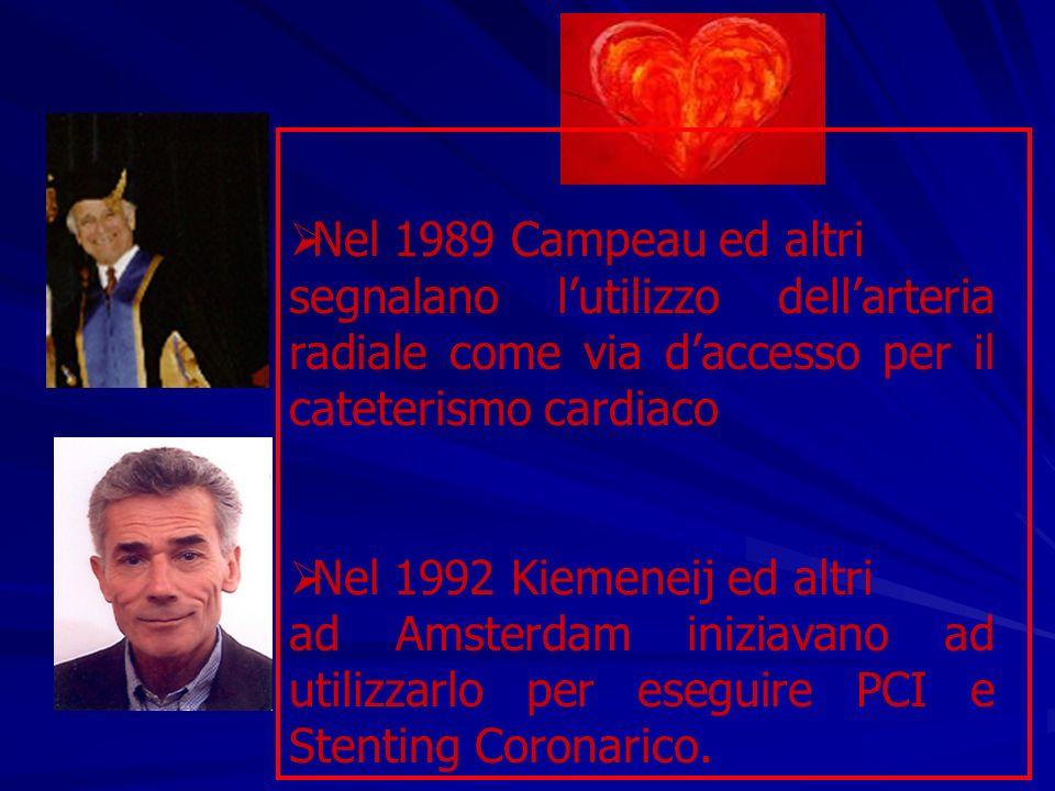 Nel 1989 Campeau ed altri segnalano l'utilizzo dell'arteria radiale come via d'accesso per il cateterismo cardiaco.