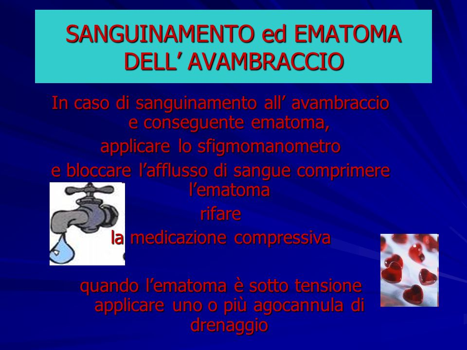 SANGUINAMENTO ed EMATOMA DELL' AVAMBRACCIO
