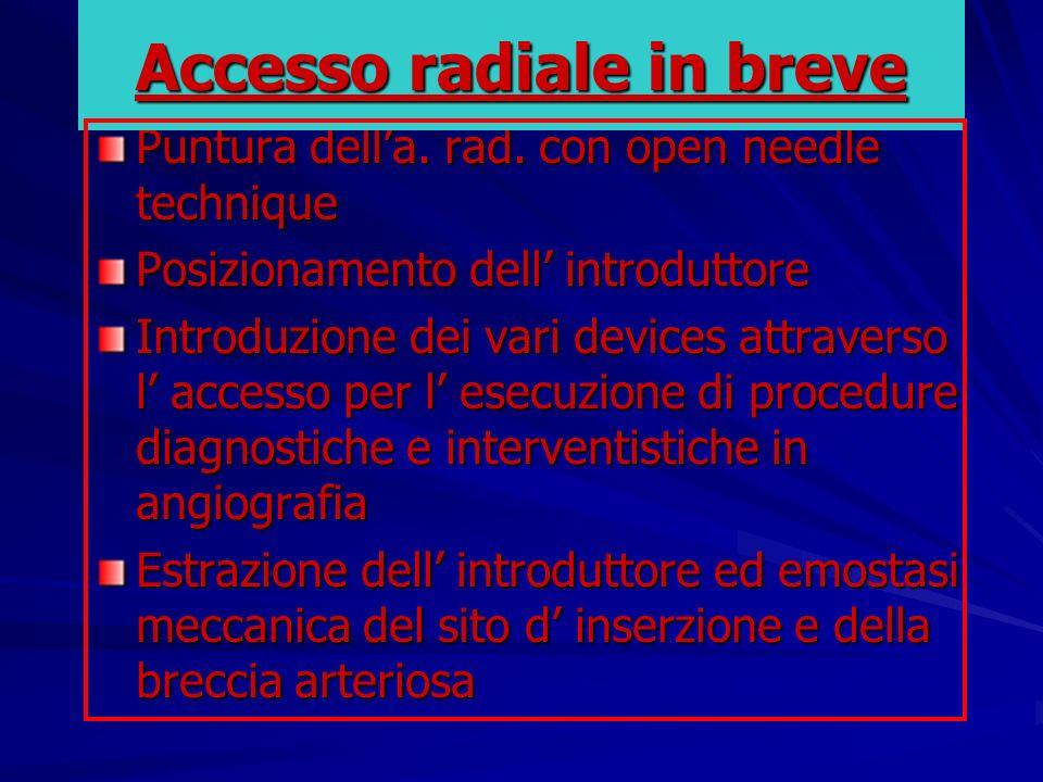 Accesso radiale in breve
