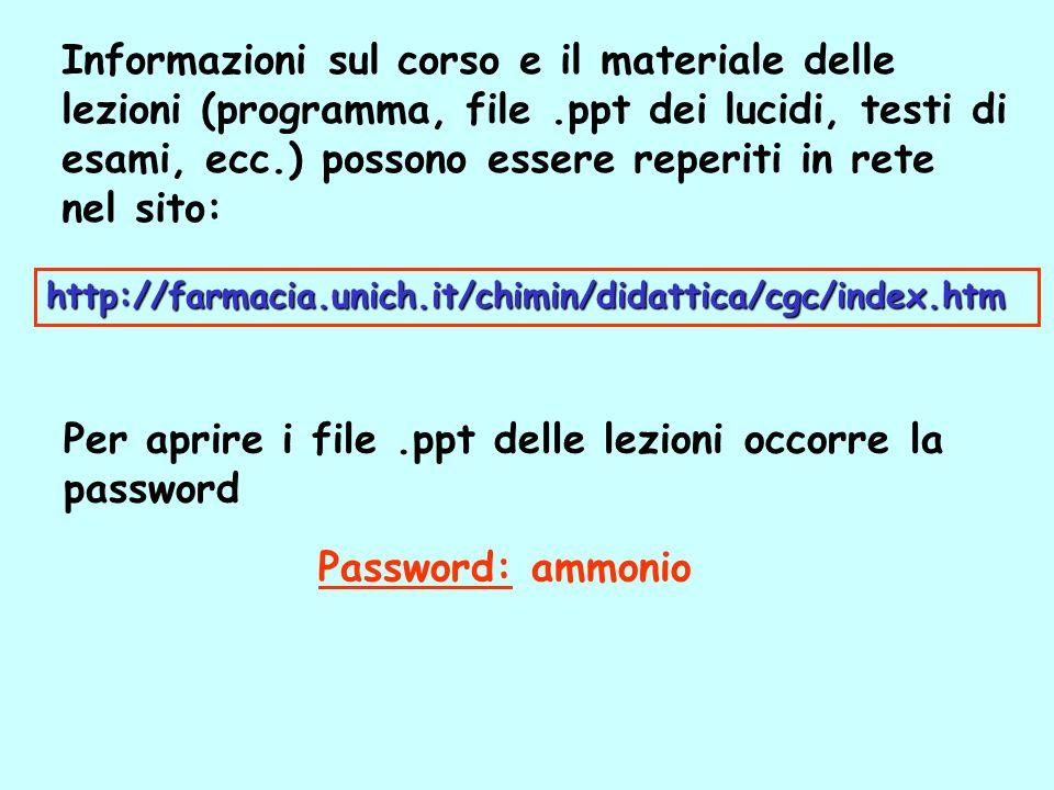 Per aprire i file .ppt delle lezioni occorre la password