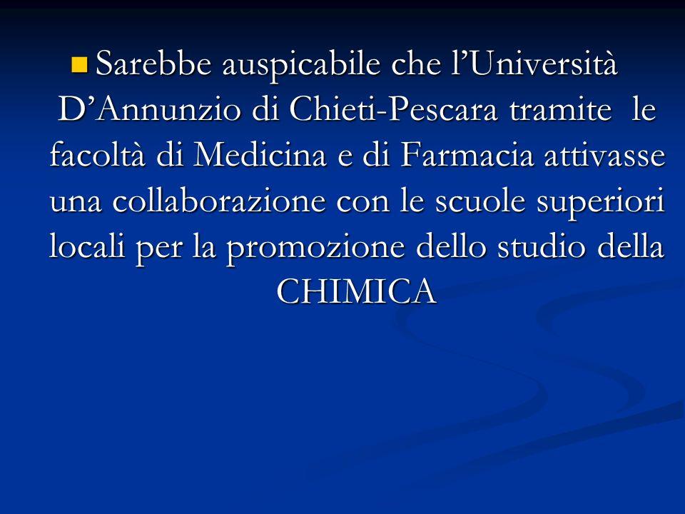 Sarebbe auspicabile che l'Università D'Annunzio di Chieti-Pescara tramite le facoltà di Medicina e di Farmacia attivasse una collaborazione con le scuole superiori locali per la promozione dello studio della CHIMICA