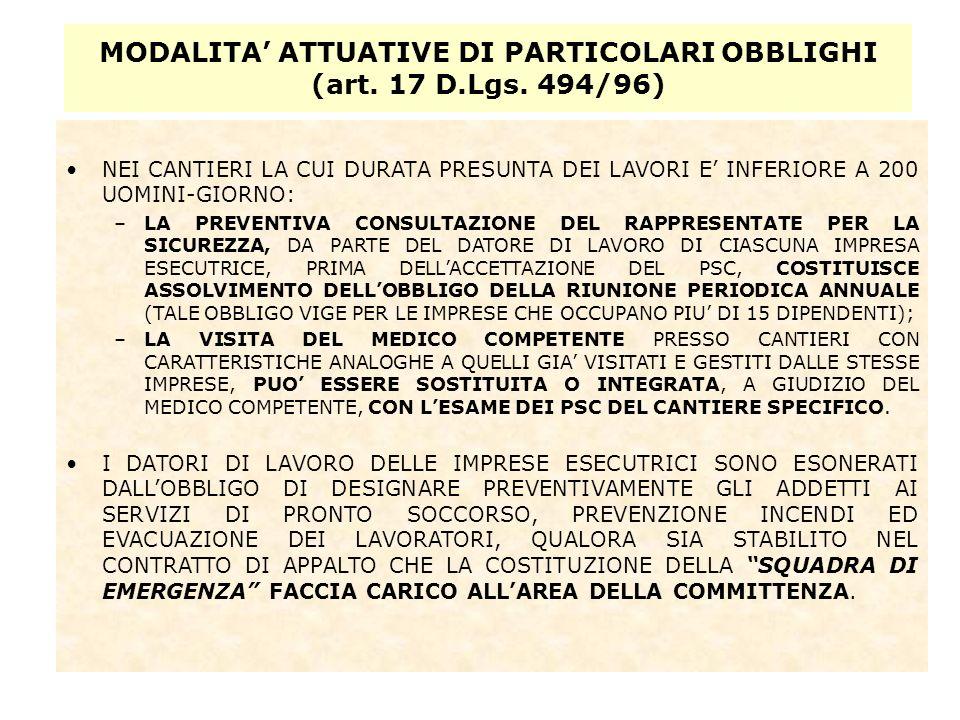 MODALITA' ATTUATIVE DI PARTICOLARI OBBLIGHI (art. 17 D.Lgs. 494/96)