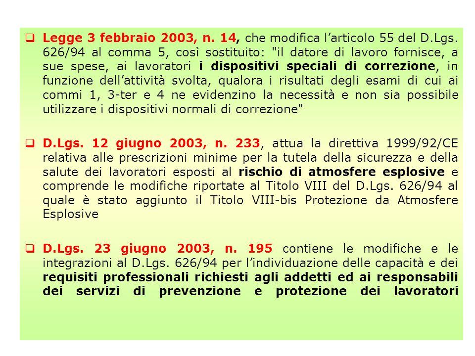 Legge 3 febbraio 2003, n. 14, che modifica l'articolo 55 del D. Lgs