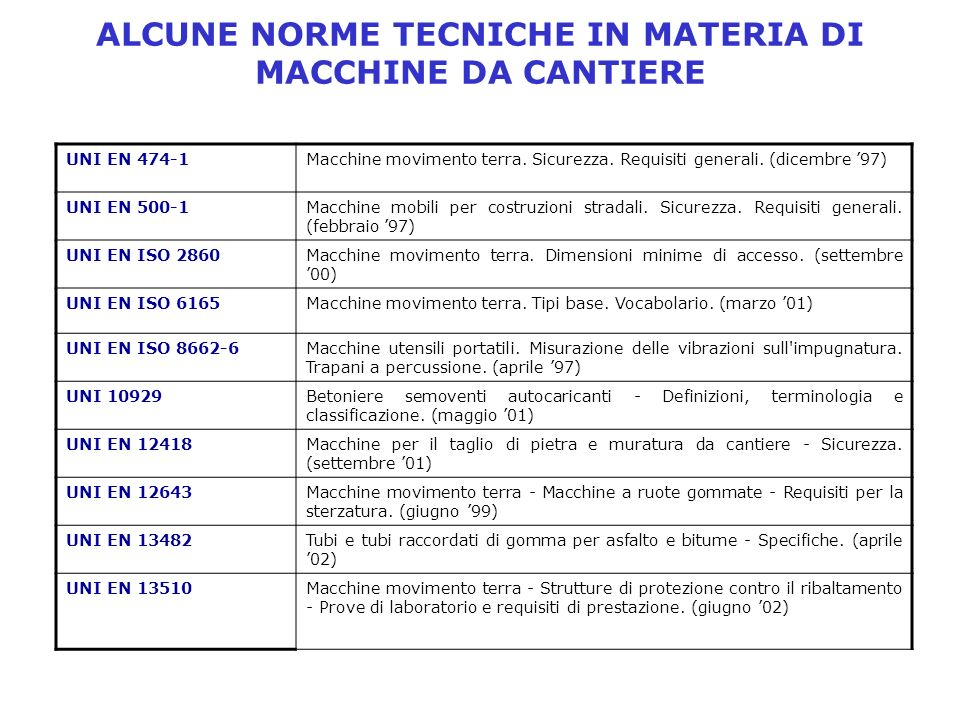 ALCUNE NORME TECNICHE IN MATERIA DI MACCHINE DA CANTIERE