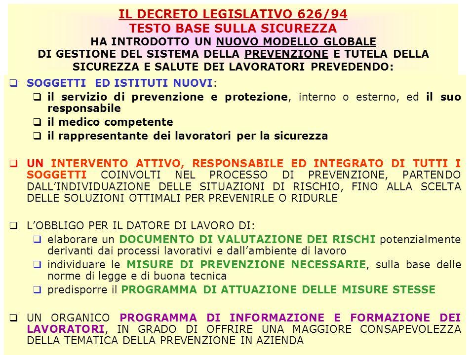 IL DECRETO LEGISLATIVO 626/94 TESTO BASE SULLA SICUREZZA HA INTRODOTTO UN NUOVO MODELLO GLOBALE DI GESTIONE DEL SISTEMA DELLA PREVENZIONE E TUTELA DELLA SICUREZZA E SALUTE DEI LAVORATORI PREVEDENDO: