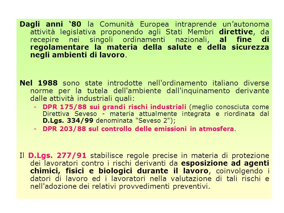 Dagli anni '80 la Comunità Europea intraprende un'autonoma attività legislativa proponendo agli Stati Membri direttive, da recepire nei singoli ordinamenti nazionali, al fine di regolamentare la materia della salute e della sicurezza negli ambienti di lavoro.