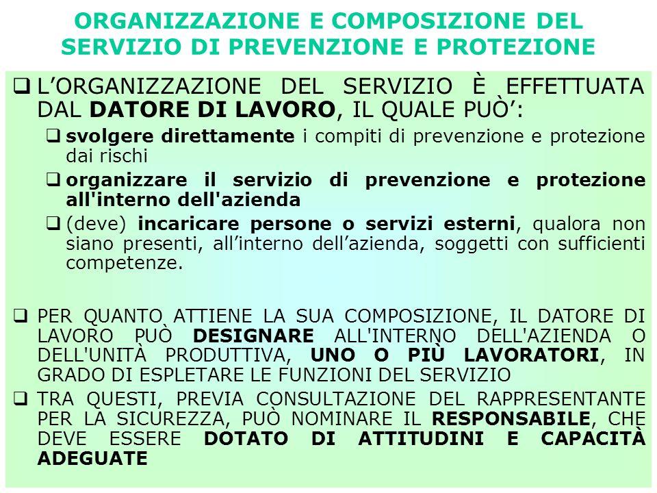 ORGANIZZAZIONE E COMPOSIZIONE DEL SERVIZIO DI PREVENZIONE E PROTEZIONE