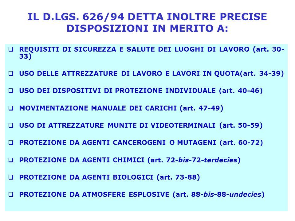 IL D.LGS. 626/94 DETTA INOLTRE PRECISE DISPOSIZIONI IN MERITO A:
