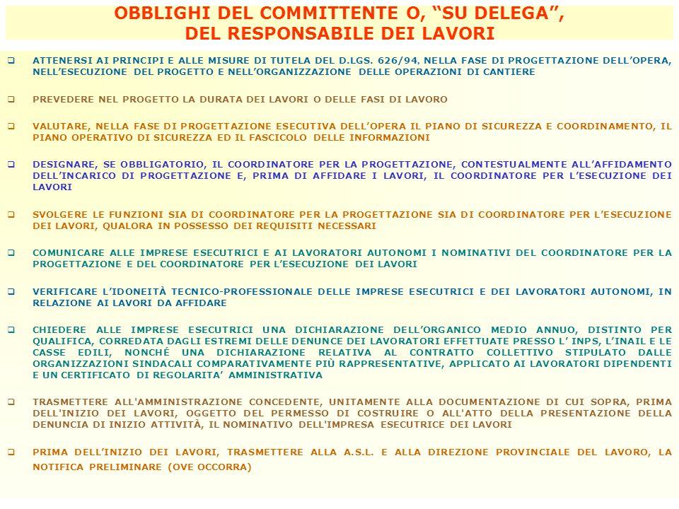 OBBLIGHI DEL COMMITTENTE O, SU DELEGA , DEL RESPONSABILE DEI LAVORI