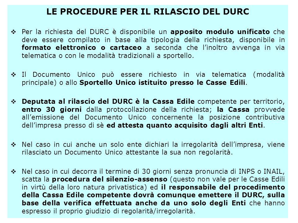 LE PROCEDURE PER IL RILASCIO DEL DURC