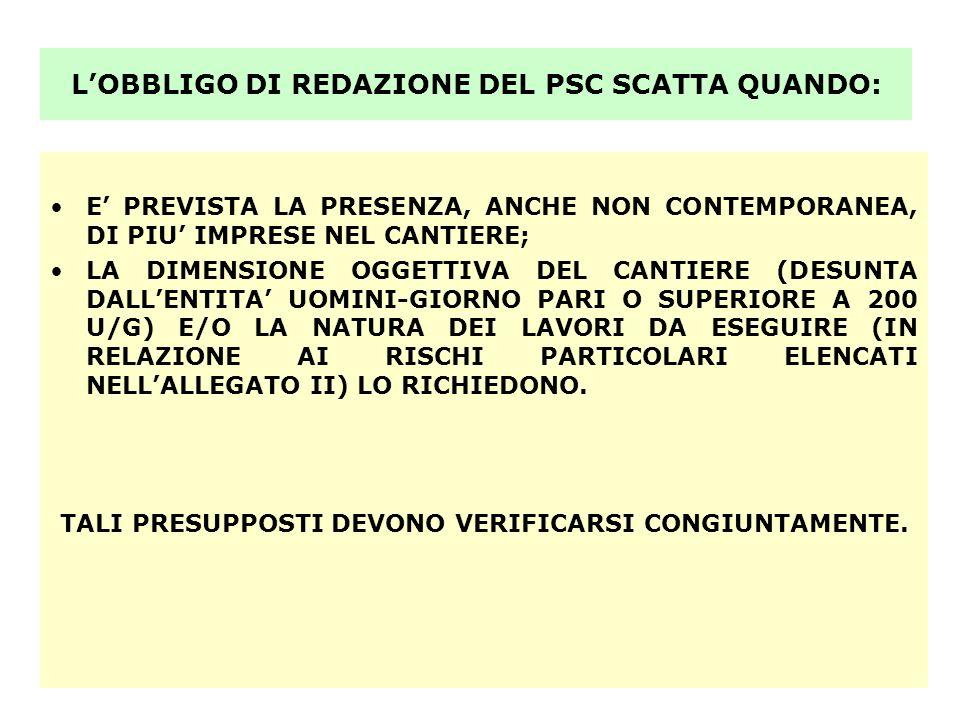 L'OBBLIGO DI REDAZIONE DEL PSC SCATTA QUANDO:
