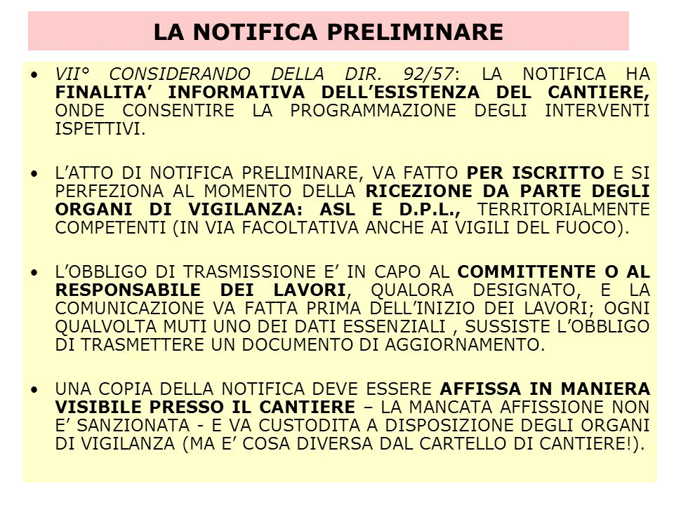 LA NOTIFICA PRELIMINARE