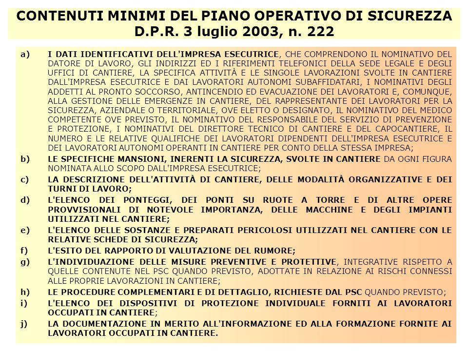CONTENUTI MINIMI DEL PIANO OPERATIVO DI SICUREZZA D. P. R