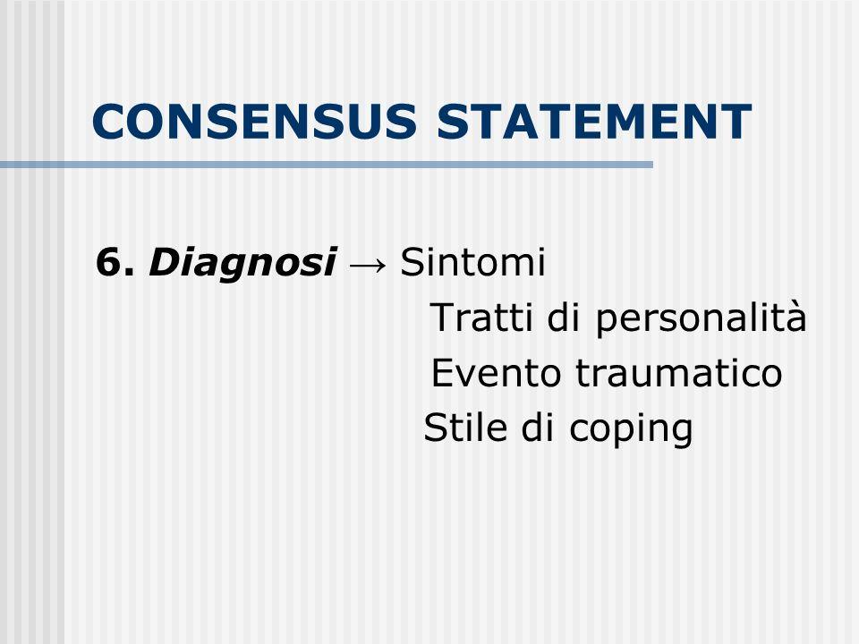CONSENSUS STATEMENT 6. Diagnosi → Sintomi Tratti di personalità