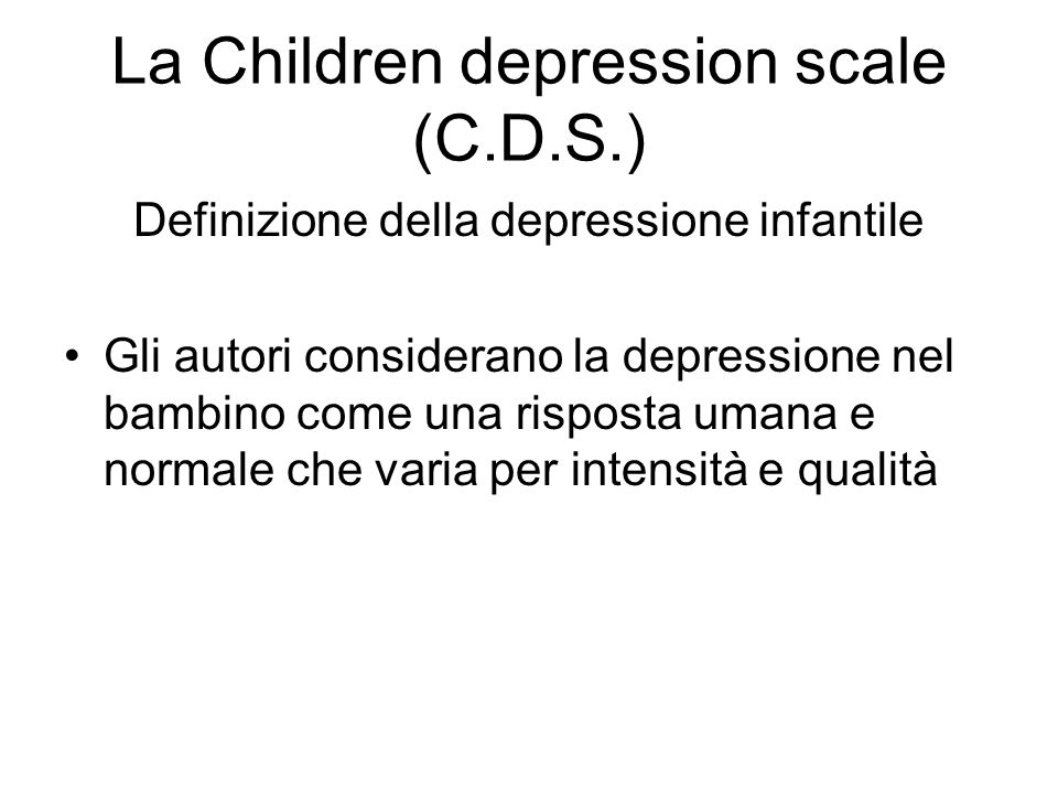 La Children depression scale (C.D.S.)