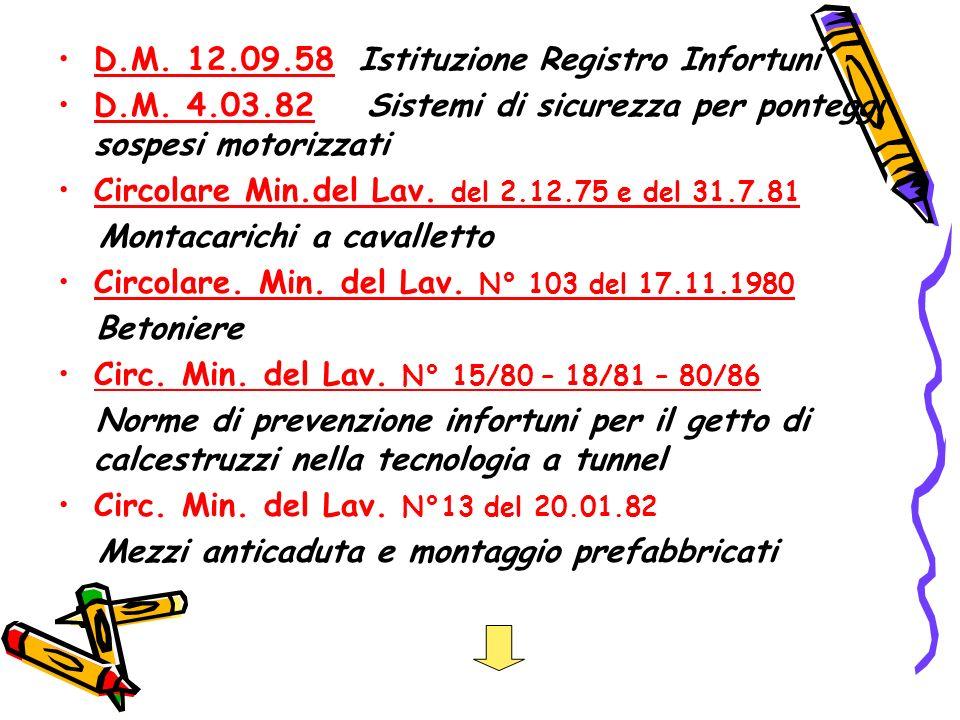 D.M. 12.09.58 Istituzione Registro Infortuni