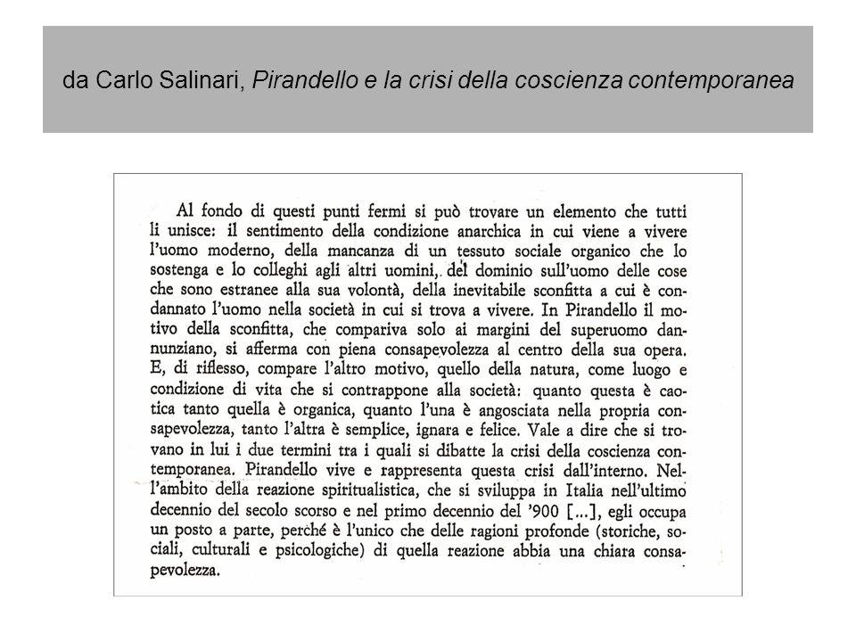 da Carlo Salinari, Pirandello e la crisi della coscienza contemporanea