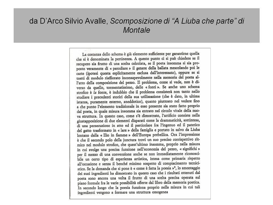 da D'Arco Silvio Avalle, Scomposizione di A Liuba che parte di Montale