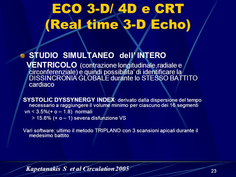 ECO 3-D/ 4D e CRT (Real time 3-D Echo)