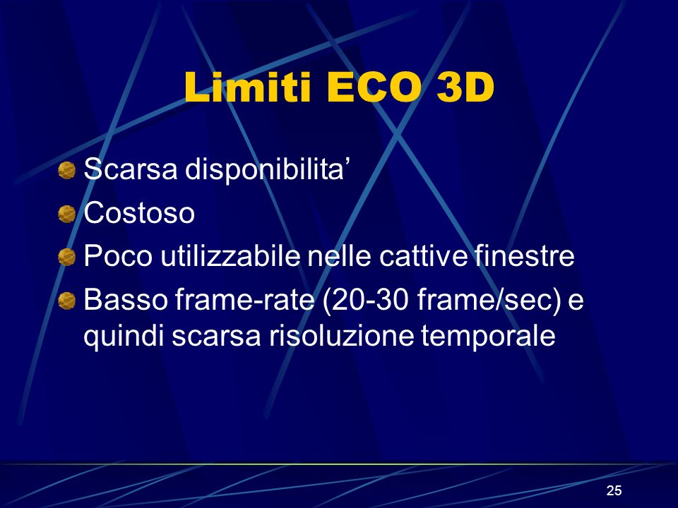 Limiti ECO 3D Scarsa disponibilita' Costoso