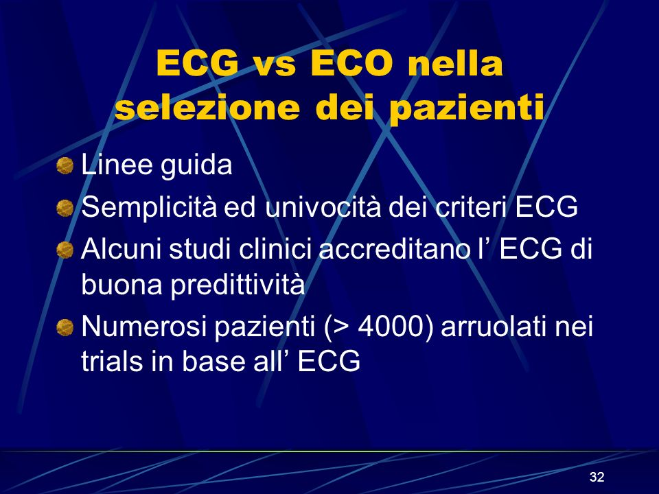 ECG vs ECO nella selezione dei pazienti