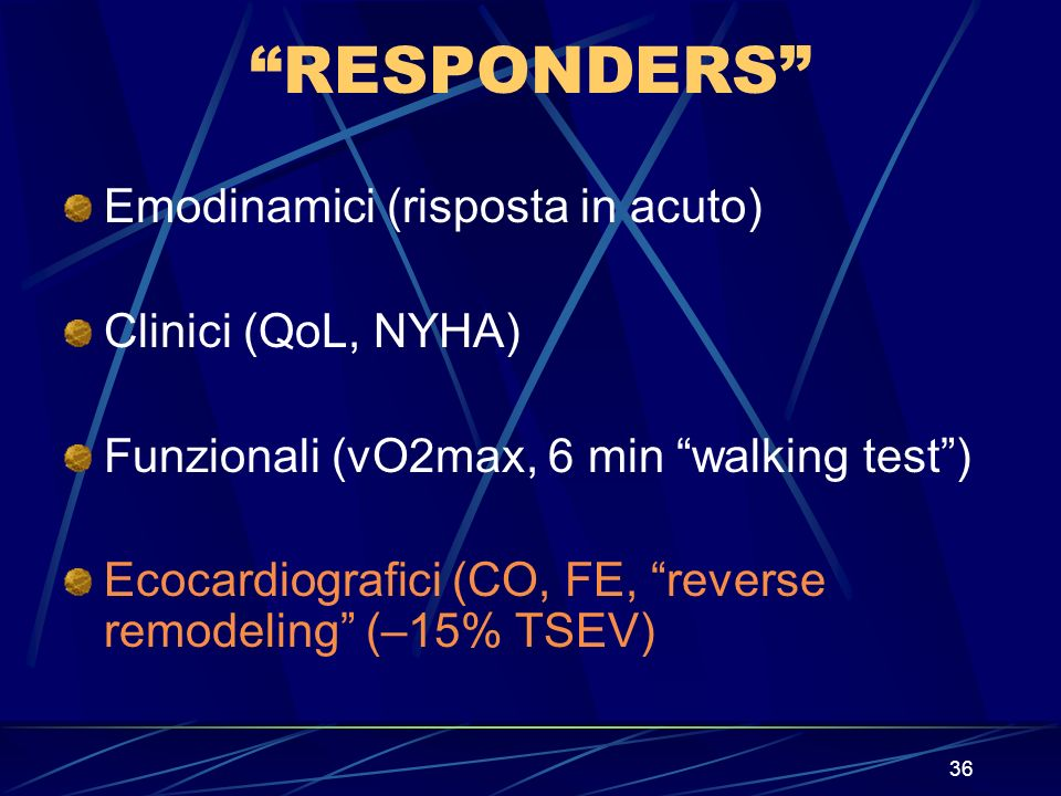 RESPONDERS Emodinamici (risposta in acuto) Clinici (QoL, NYHA)