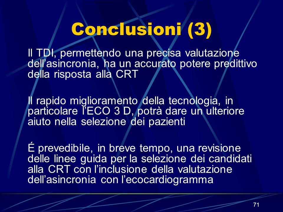 Conclusioni (3) Il TDI, permettendo una precisa valutazione dell'asincronia, ha un accurato potere predittivo della risposta alla CRT.