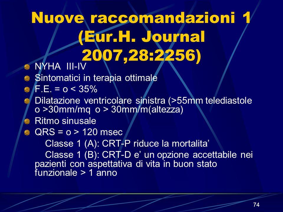 Nuove raccomandazioni 1 (Eur.H. Journal 2007,28:2256)