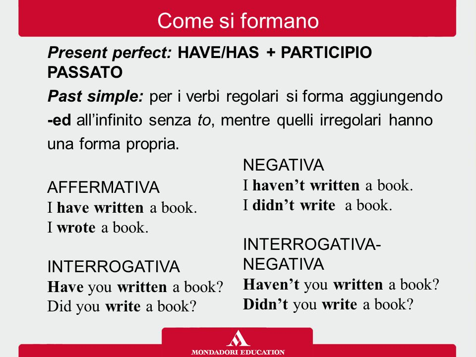 Come si formano Present perfect: HAVE/HAS + PARTICIPIO PASSATO