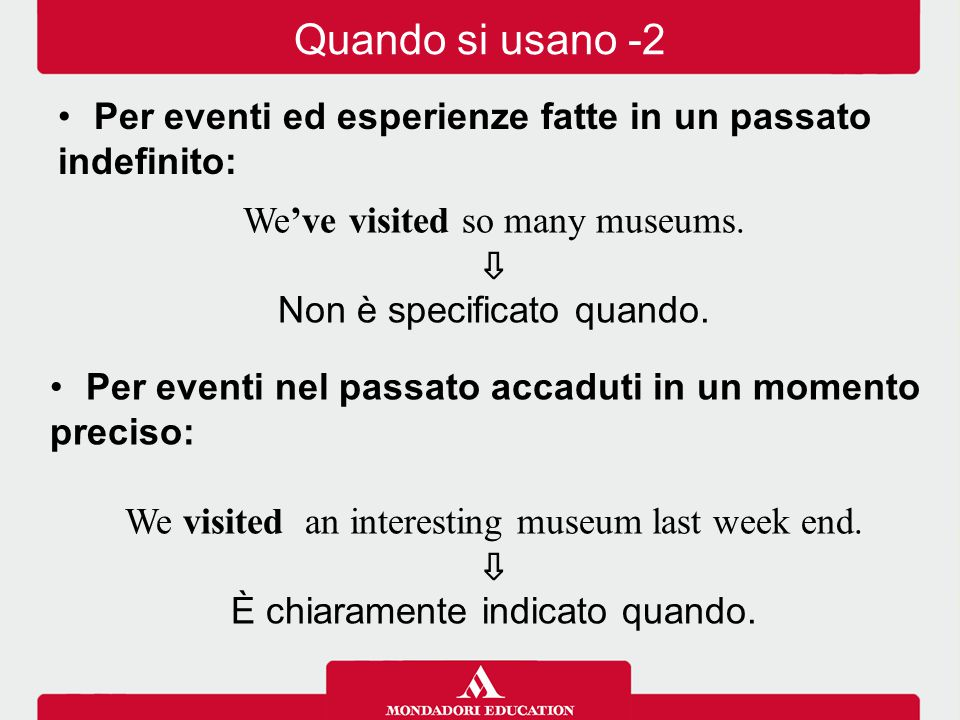 Quando si usano -2 Per eventi ed esperienze fatte in un passato indefinito: We've visited so many museums.