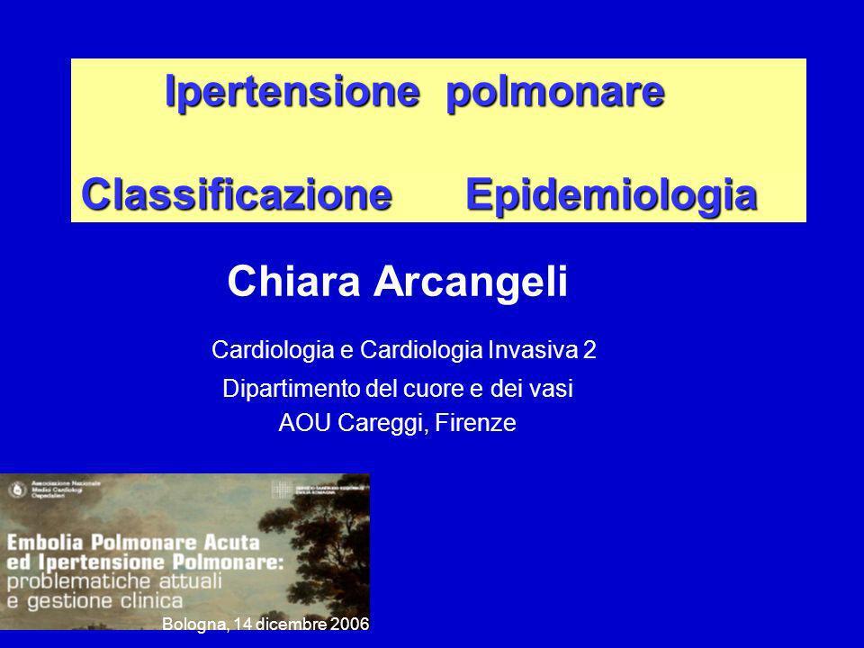 Ipertensione polmonare Classificazione Epidemiologia