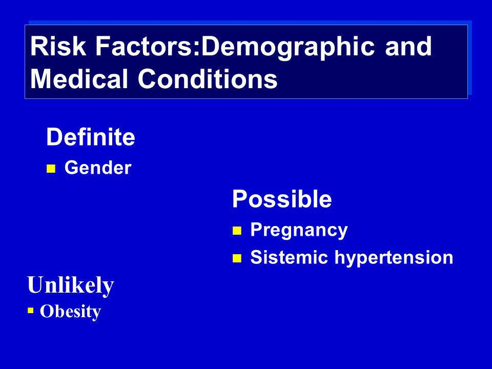 Risk Factors:Demographic and Medical Conditions