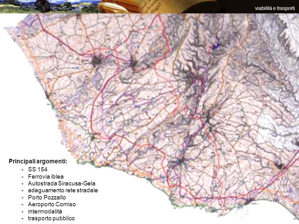 Principali argomenti: SS 154 Ferrovia iblea Autostrada Siracusa-Gela