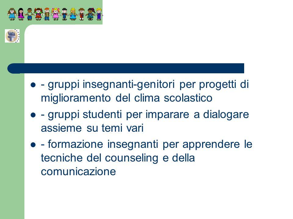 - gruppi insegnanti-genitori per progetti di miglioramento del clima scolastico