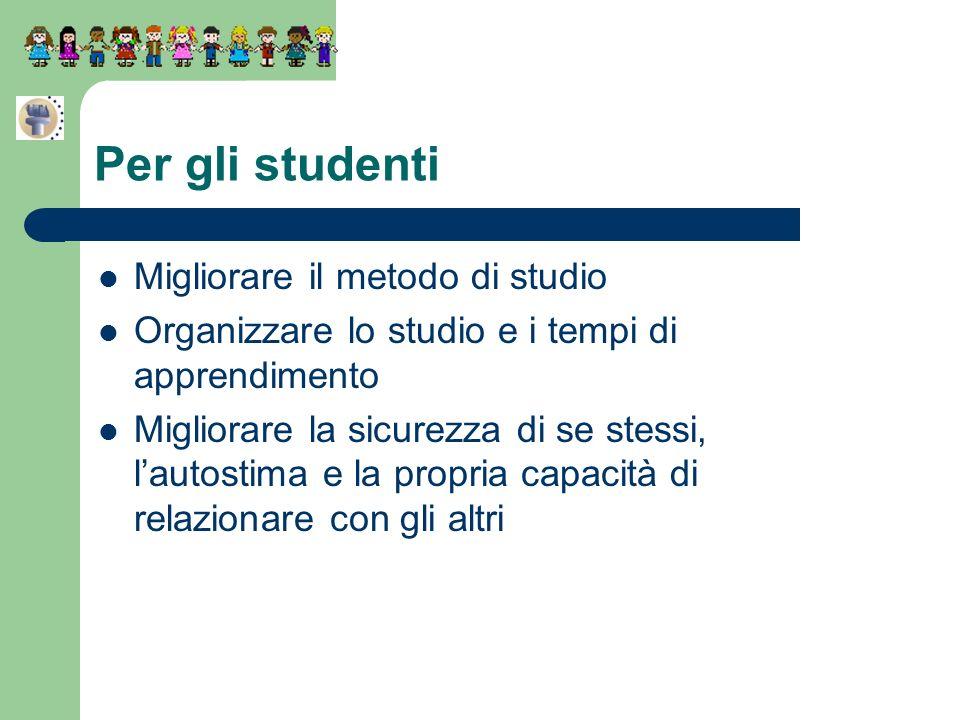 Per gli studenti Migliorare il metodo di studio