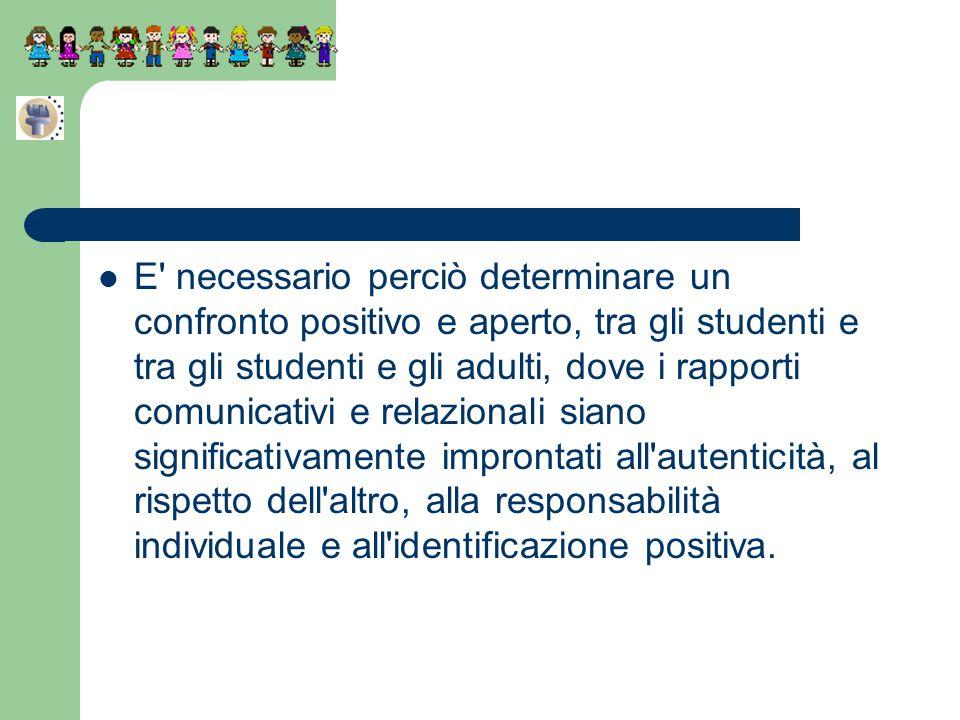 E necessario perciò determinare un confronto positivo e aperto, tra gli studenti e tra gli studenti e gli adulti, dove i rapporti comunicativi e relazionali siano significativamente improntati all autenticità, al rispetto dell altro, alla responsabilità individuale e all identificazione positiva.