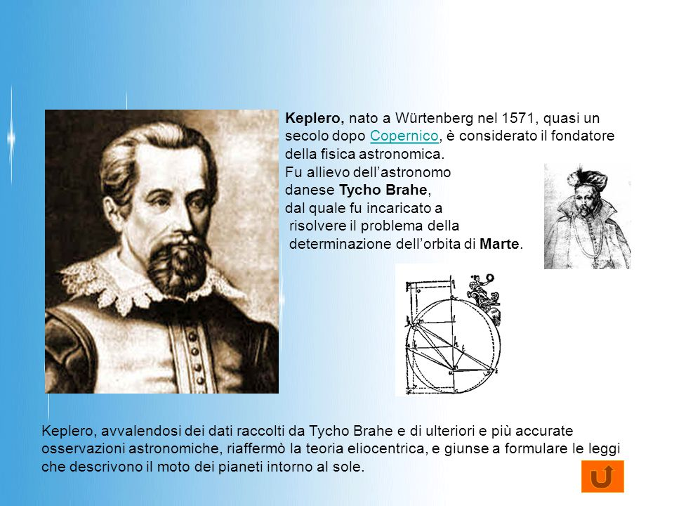 Keplero, nato a Würtenberg nel 1571, quasi un secolo dopo Copernico, è considerato il fondatore della fisica astronomica.