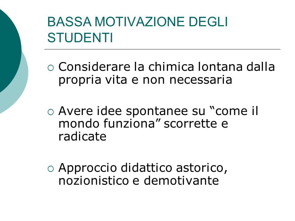BASSA MOTIVAZIONE DEGLI STUDENTI