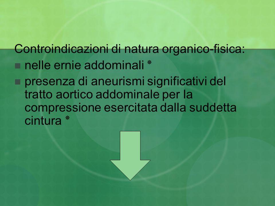 Controindicazioni di natura organico-fisica: