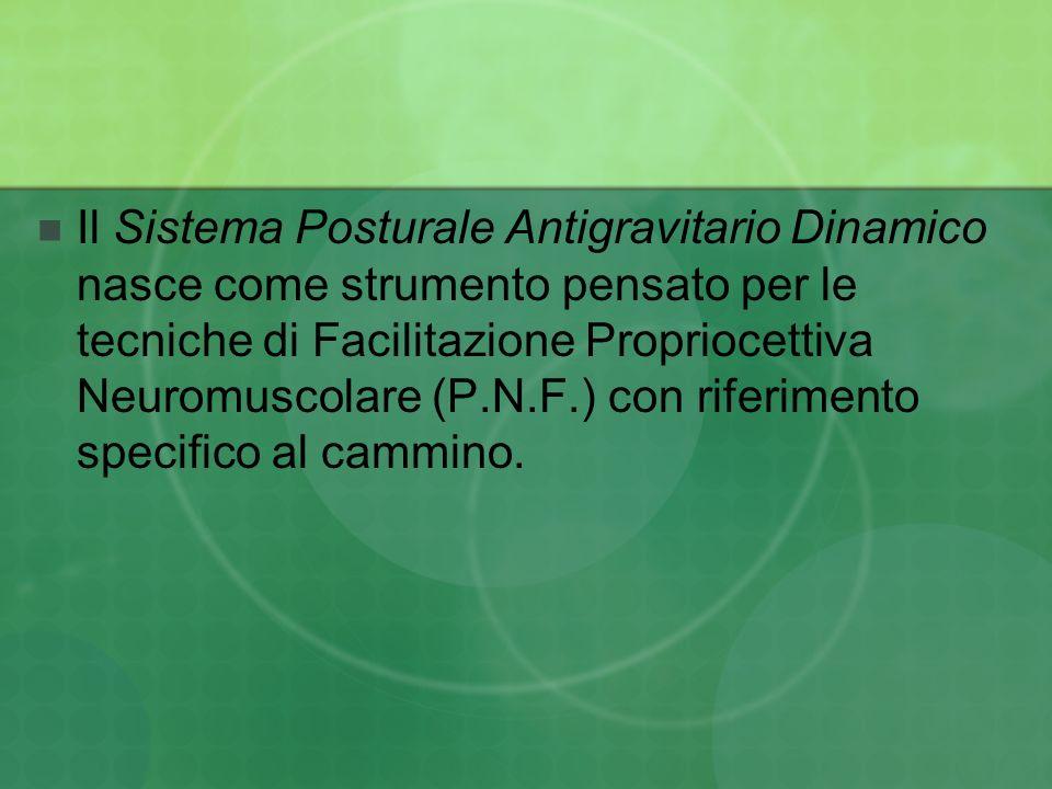 Il Sistema Posturale Antigravitario Dinamico nasce come strumento pensato per le tecniche di Facilitazione Propriocettiva Neuromuscolare (P.N.F.) con riferimento specifico al cammino.