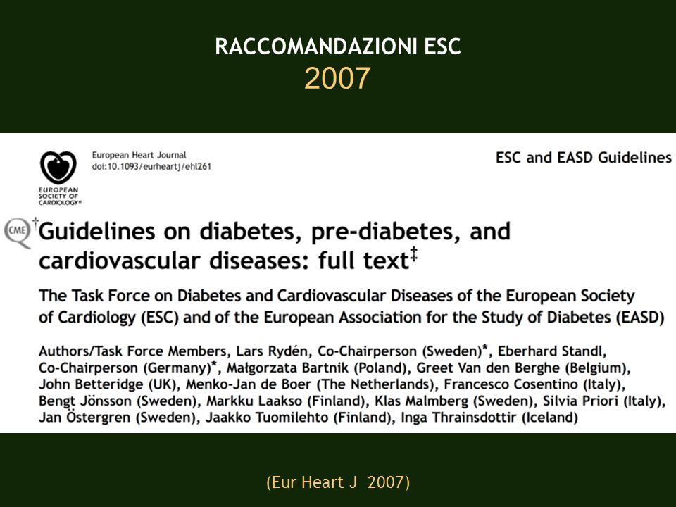 RACCOMANDAZIONI ESC 2007 (Eur Heart J 2007)