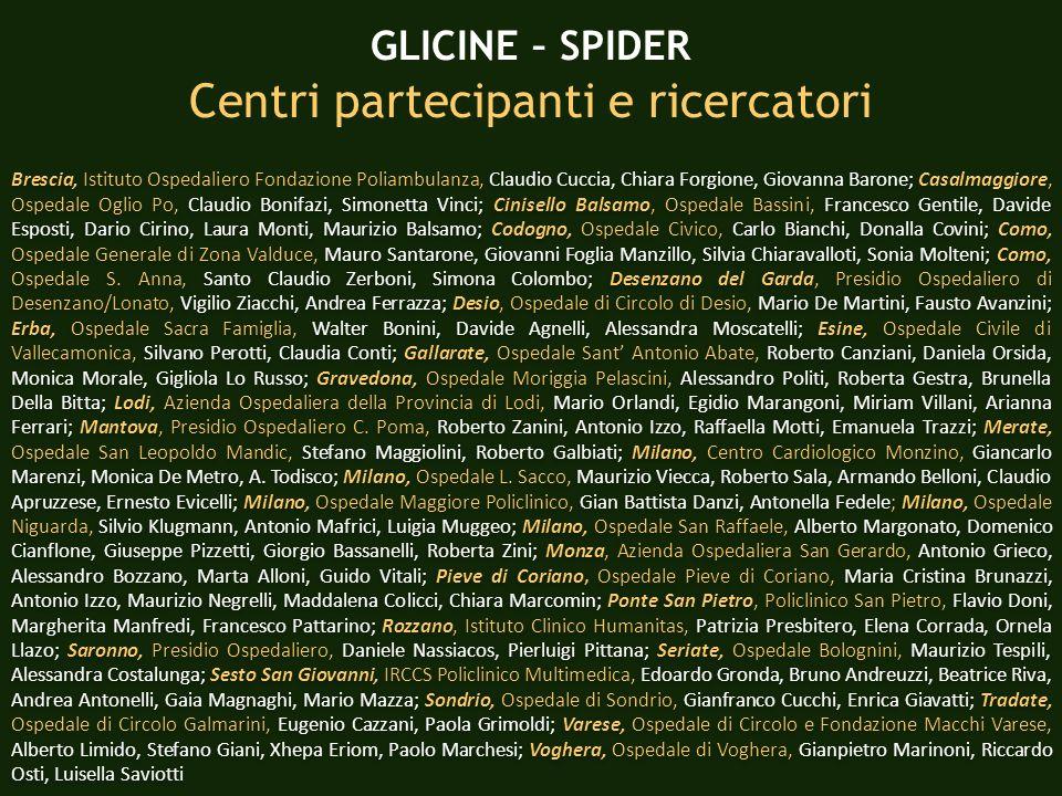 Centri partecipanti e ricercatori