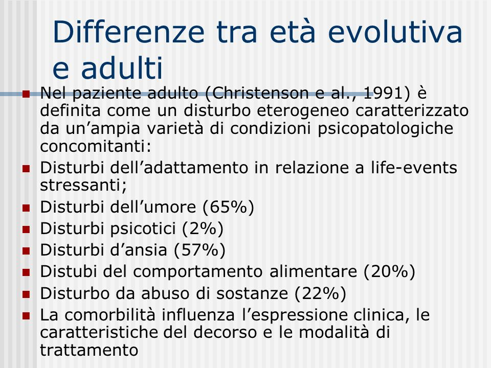 Differenze tra età evolutiva e adulti