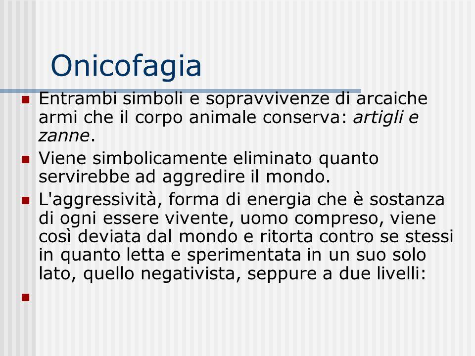 Onicofagia Entrambi simboli e sopravvivenze di arcaiche armi che il corpo animale conserva: artigli e zanne.