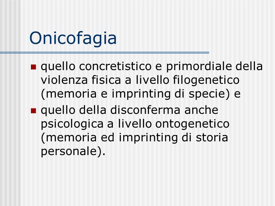 Onicofagia quello concretistico e primordiale della violenza fisica a livello filogenetico (memoria e imprinting di specie) e.