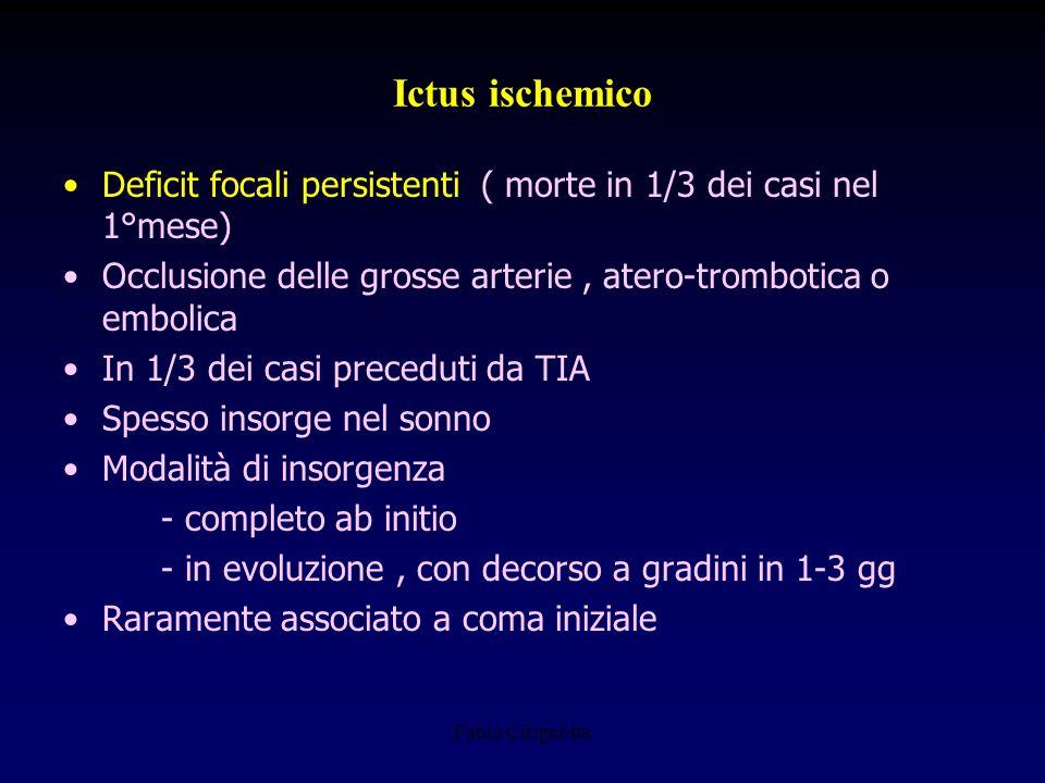 Ictus ischemico Deficit focali persistenti ( morte in 1/3 dei casi nel 1°mese) Occlusione delle grosse arterie , atero-trombotica o embolica.
