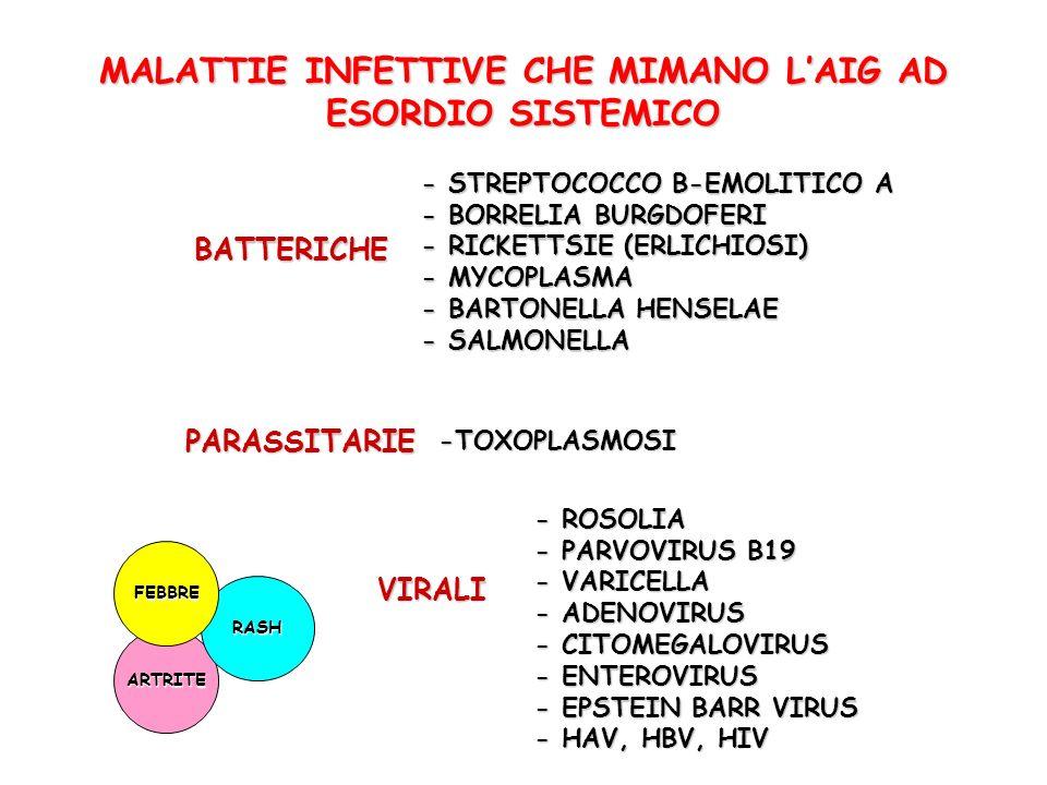 MALATTIE INFETTIVE CHE MIMANO L'AIG AD ESORDIO SISTEMICO