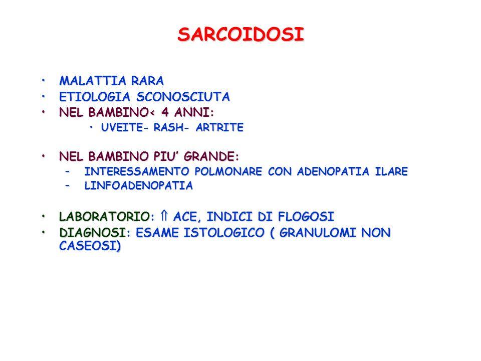 SARCOIDOSI MALATTIA RARA ETIOLOGIA SCONOSCIUTA NEL BAMBINO< 4 ANNI: