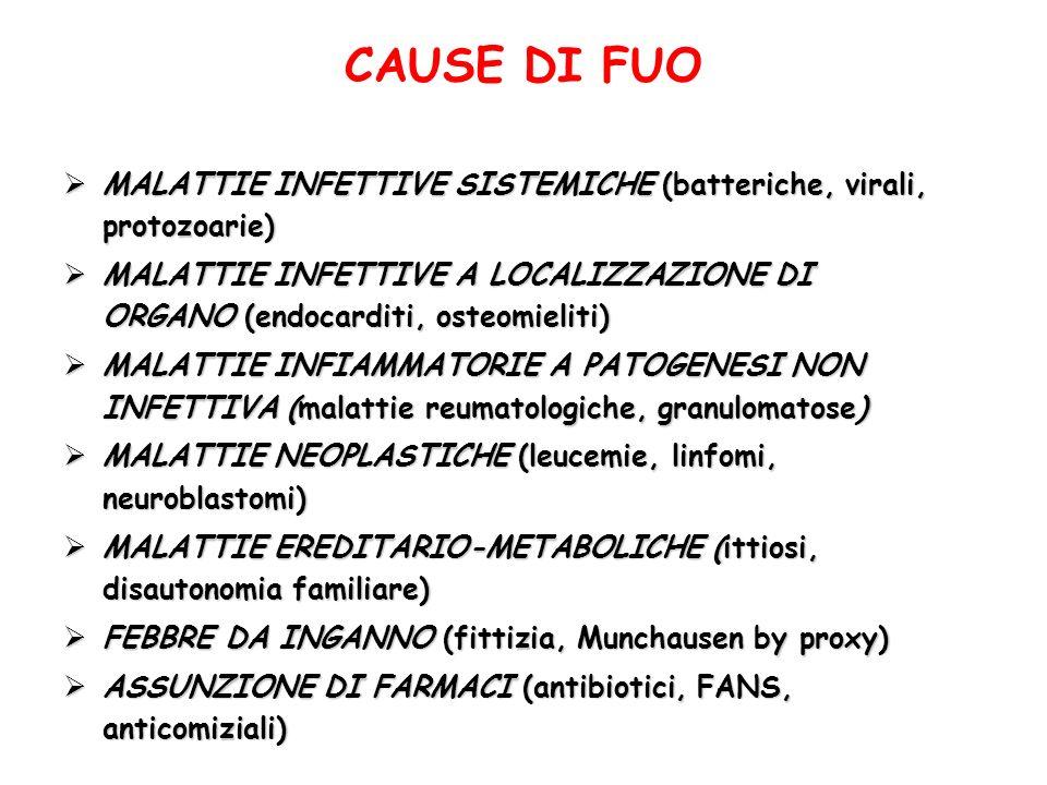 CAUSE DI FUOMALATTIE INFETTIVE SISTEMICHE (batteriche, virali, protozoarie)